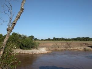 基本的に、サファリ・ドライブ中にクルマの外へ降りることは許されていないが、ここのヒッポプールでは許可がおりた。足もとの土は目が細かくて乾いていた。乾季と雨季で川幅は大きく変わるという。